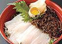 Squid sashimi with kagome kombu rice bowl