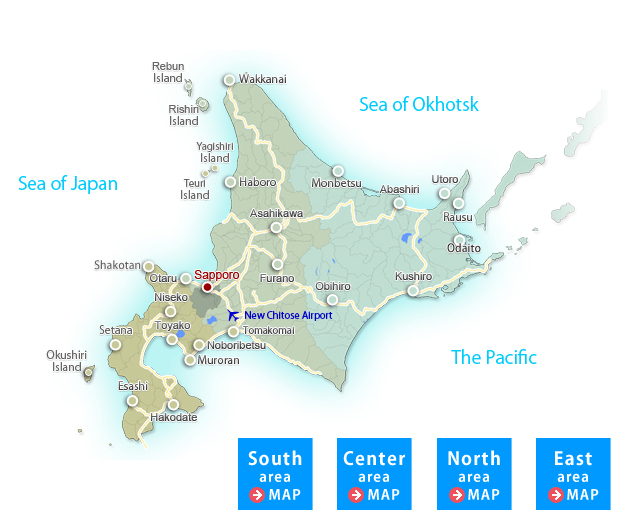 Eight special tourist areas Map of Hokkaido
